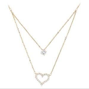 Gold duplexes crystal heart necklace